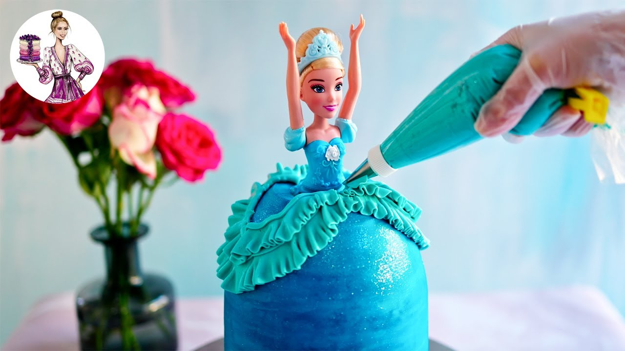 Disney Cinderella Princess Cake - How to make an easy and beautiful Disney Princess Doll Cake