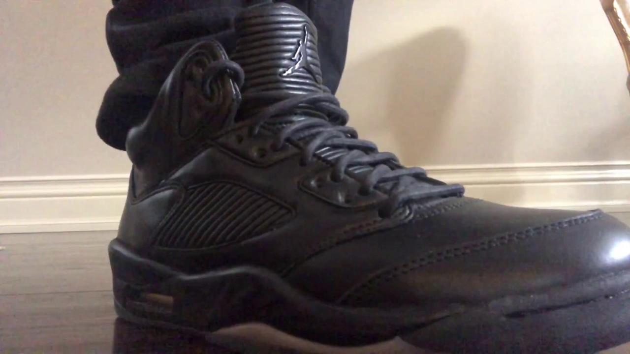 top fashion dc4ef 1503a Jordan 5 V Pinnacle Premium Triple Black on feet!