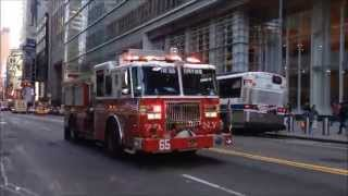 FDNY ENGINE 65 RESPONDING ON WEST 42ND STREET IN THE MIDTOWN AREA OF MANHATTAN IN NEW YORK CITY.