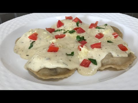 Homemade Whole wheat Ravioli | Mushroom stuffed ravioli in creamy sauce
