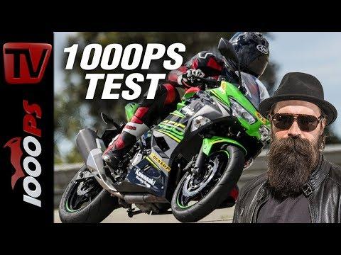 1000PS Test - Kawasaki Ninja 400 - 1000PS fährt auf der Rennstrecke.