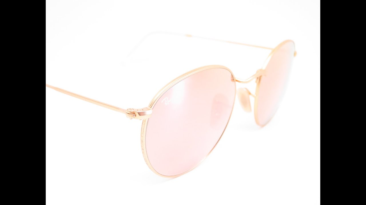 4c449ff9f4b Ray-Ban RB 3447 Round Metal 112 Z2 Matte Gold Sunglasses - YouTube