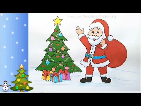 Download How To Draw Santa Claus With Christmas Tree Step By Step