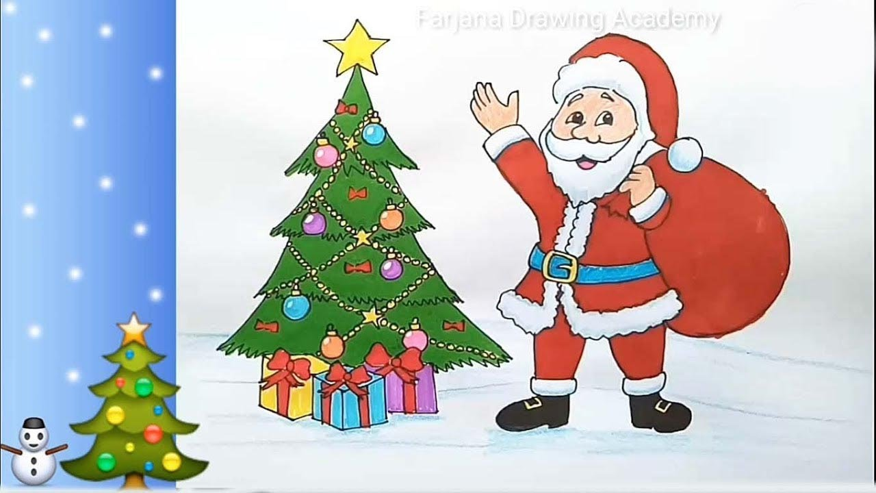 How To Draw Santa Claus With Christmas Tree Step By Step Youtube