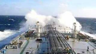 navigating, crude oil tanker in the sea