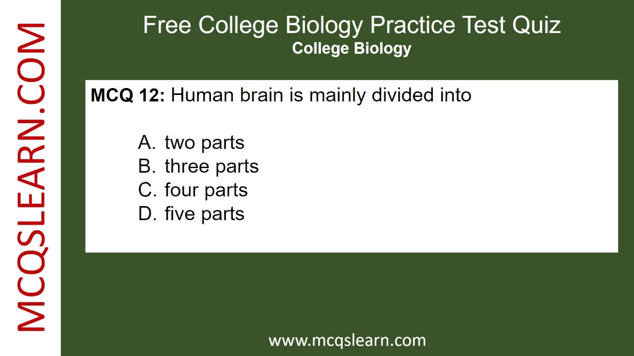 Free College Biology Practice Test - MCQsLearn Free Videos