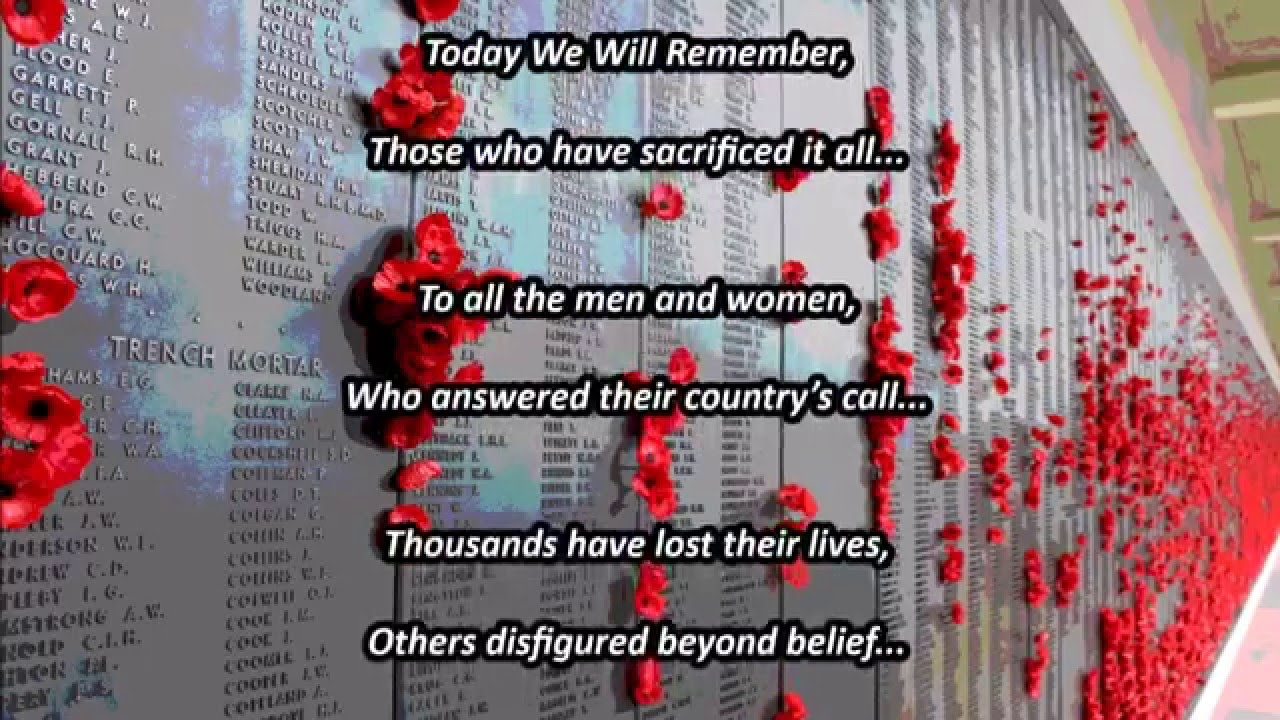 Remembrance Day Poem 2015 Youtube