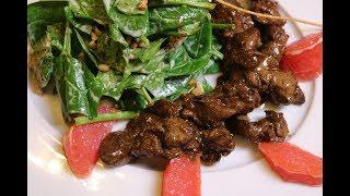 Тёплый салат с КУРИНОЙ ПЕЧЕНЬЮ и шпинатом