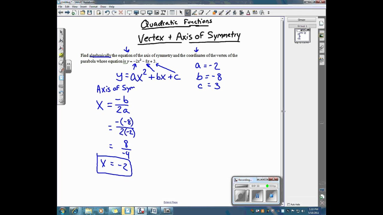 Finding The Vertex And Axis Of Symmetry Wmv