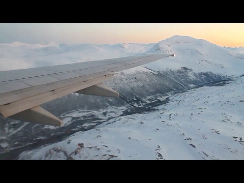 SAS Scandinavian Airlines SK4414 737-800 Oslo-Tromsø. Takeoff & Spectacular Approach and Landing