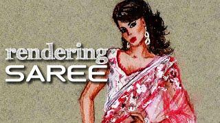 Saree / Sari Tutorial: Fashion Design Drawing Lesson