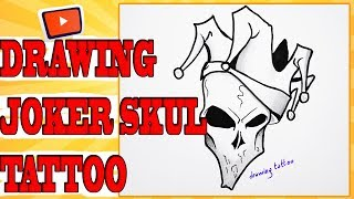 How to Draw a Joker Skull Tattoo Design on Paper - Joker tattoos