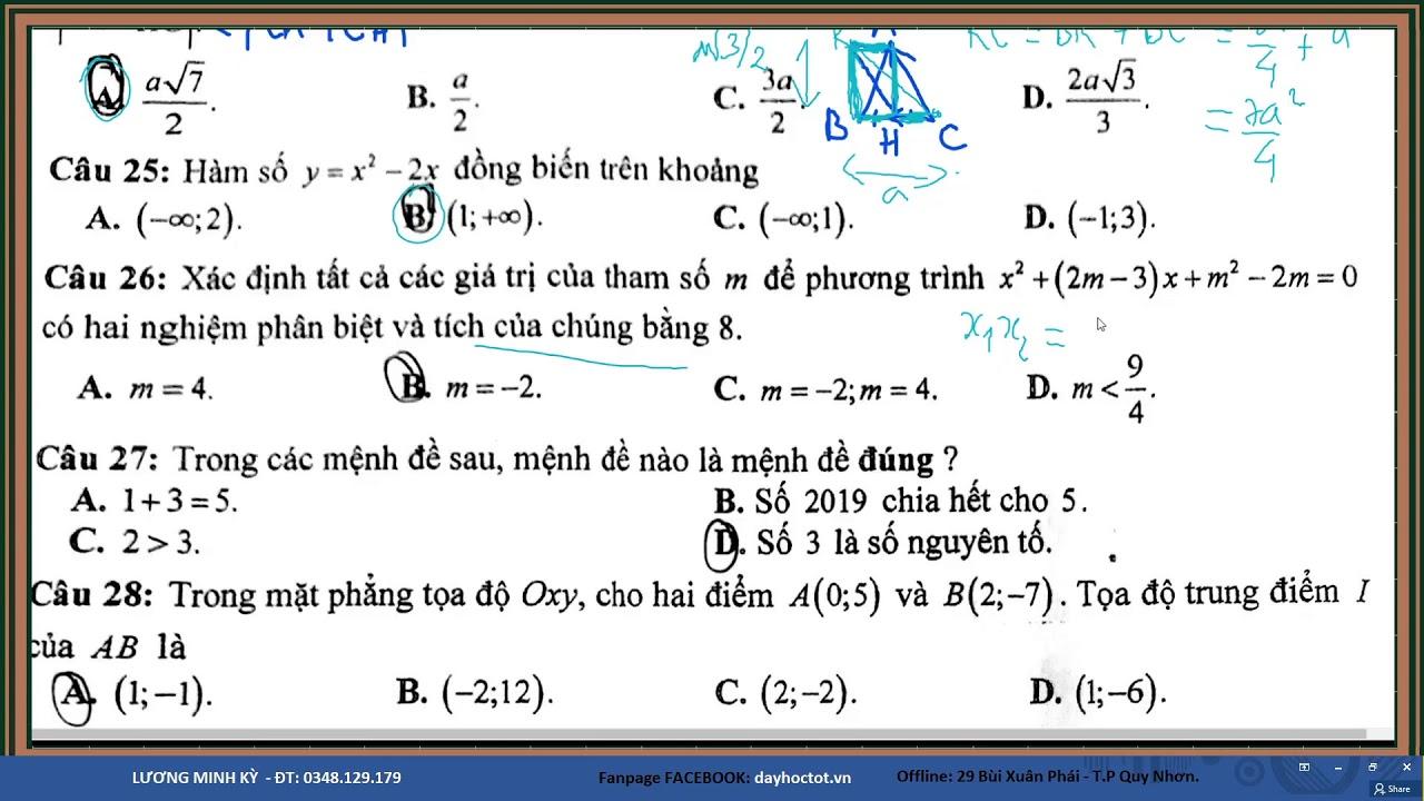 TOÁN 10 – ĐỀ THI HK1  2017-2018; 2019-2020 (Trắc nghiệm)