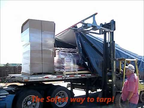 Flatbed Trailer Tarping Ultra Tarper System Youtube