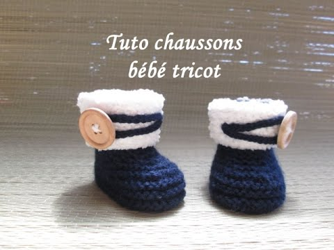 les tutos de fadinou tuto chausson bebe booties au tricot facile. Black Bedroom Furniture Sets. Home Design Ideas