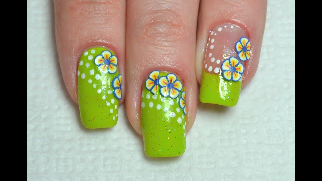 Summer Fimo Flower Nail Art Youtube