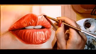 How to Paint a Realistic Mouth (Lips) - Watercolor Portrait Tutorial