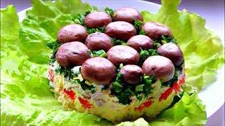 """Салат  """" Грибная поляна """" 🍄 """" Лесная поляна """" 🍄 Вкусный слоеный салат с курицей и грибами"""