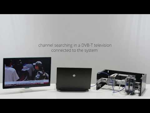 Hotel TV system based on conversion of DVB-S/S2 signals to DVB-T standard