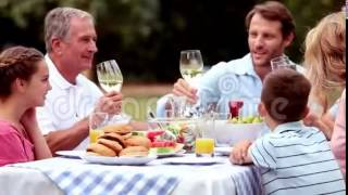 Stock footage of family clinking wine glasses