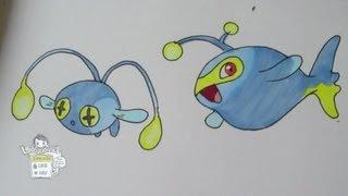 How to draw Pokemon: No.170 Chinchou, No. 171 Lanturn