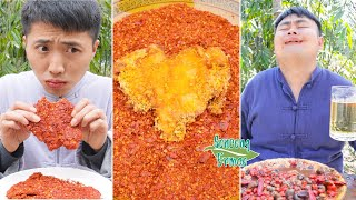 Spicy Ostrich Egg and River Snail || TikTok Funny Mukbang || Songsong and Ermao