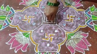 Varamahalakshmi special Kalasa Rangoli | Kalasha Rangoli design | Chukki rangoli | Kalash Rangoli