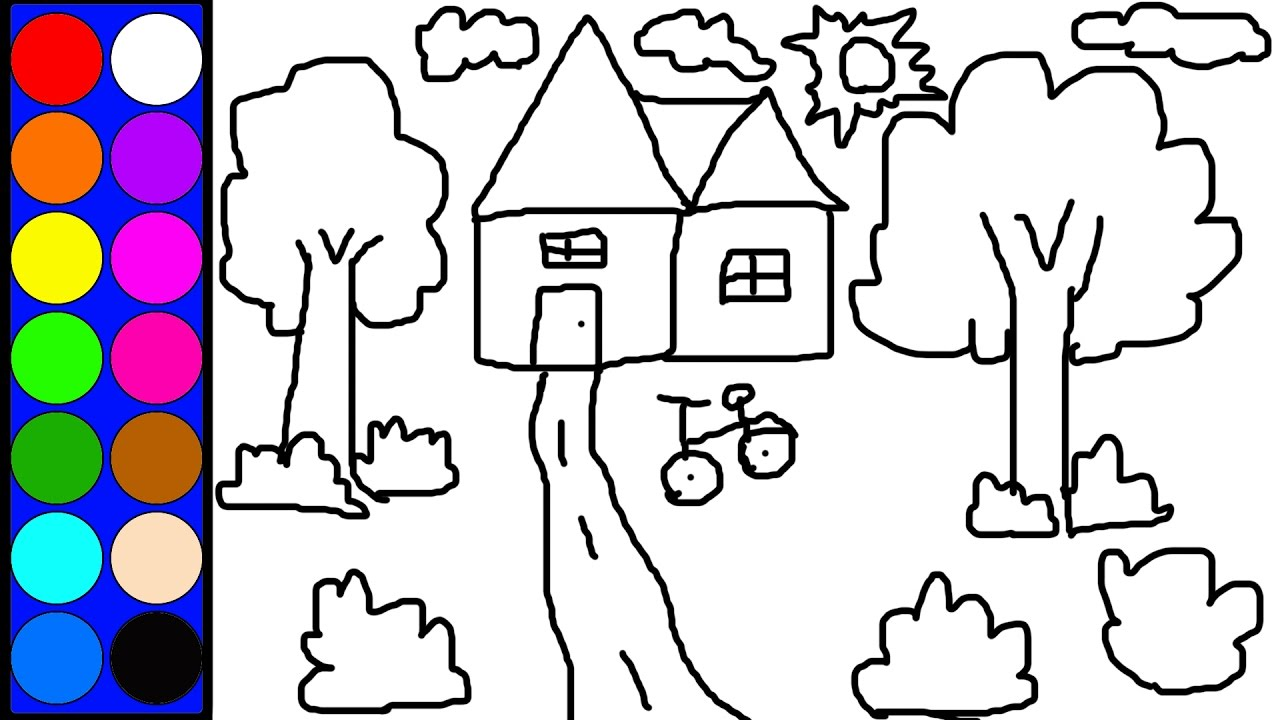 Learn Colors Lovely House Coloring Page Learn Diy Drawing And Painting Game For Kids Children Baby