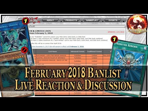 Yu-Gi-Oh! February 5th, 2018 TCG Banlist - LIVE REACTION & DISCUSSION