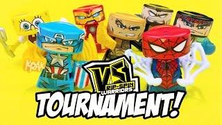 VS Rip-Spin Warriors Toys Tournament #1 ft Spiderman, Spongebob, The Rock & Iron Man | KID CITY