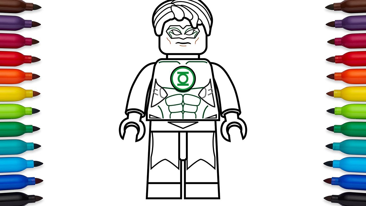 how to draw lego green lantern hal jordan dc comics super heroes coloring pages