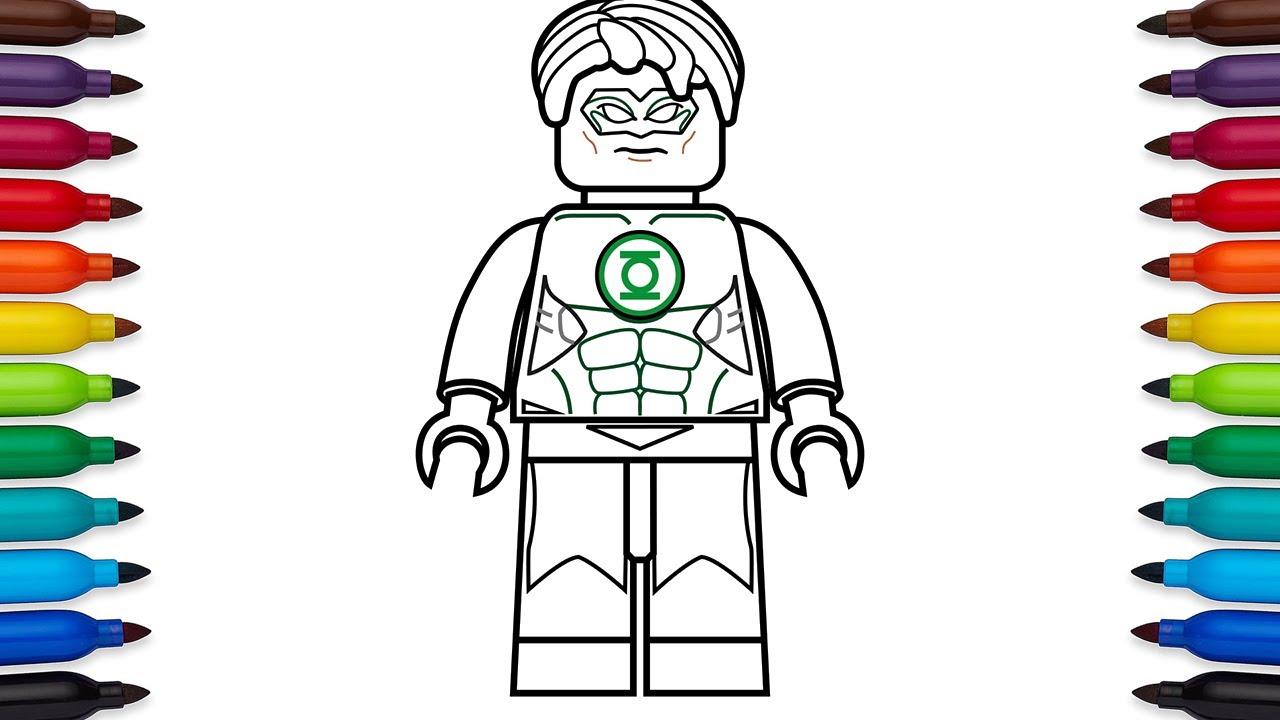 how to draw lego green lantern (hal jordan)  dc comics