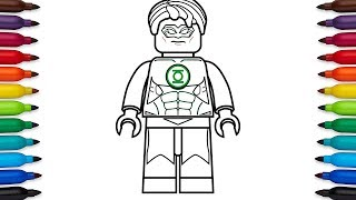 How to draw Lego Green Lantern (Hal Jordan) - DC Comics Super Heroes - coloring pages