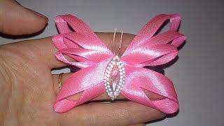 Бабочка из тонкой атласной ленты.Резинка на голову своими руками.
