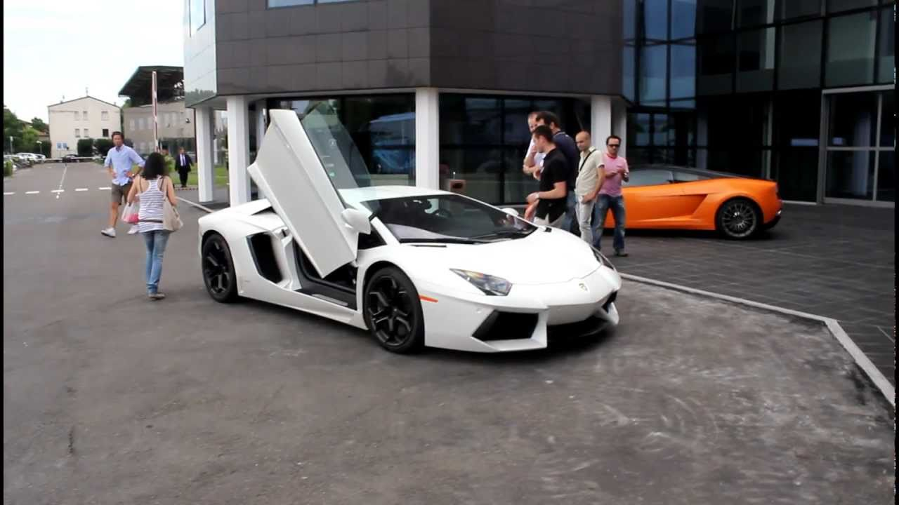 Lamborghini Aventador LP700,4 opening and closing the doors outside the  Lamborghini factory