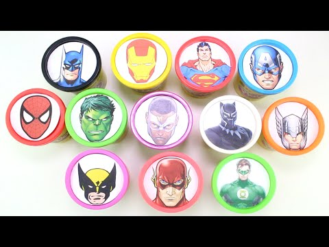 Learn Colors with Superheroes Play Doh Surprise Cups