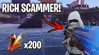 Rich kid loses loads of sunbeam! 🤑💰 (Scammer Get Scammed) Fortnite Save The World
