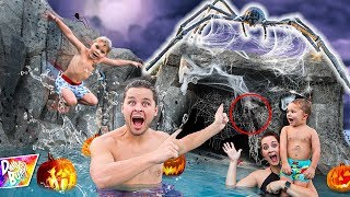EXPLORING OUR HAUNTED SWIMMING POOL 🕷🎃👻 (Monster Caught On Camera!)