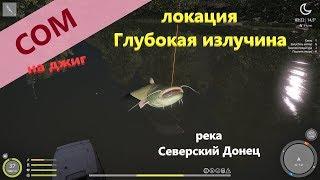 Русская рыбалка 4 река Северский Донец Сом на 7 метровой яме