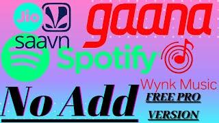 Add free music jio Saavn spotify gana winking music and all music app free no add screenshot 4