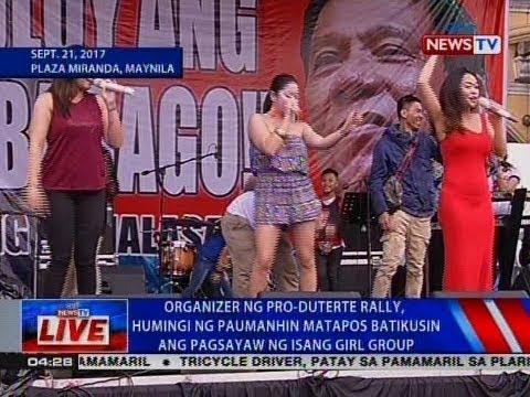 NTVL: Organizer ng pro-Duterte rally, humihingi ng paumanhin