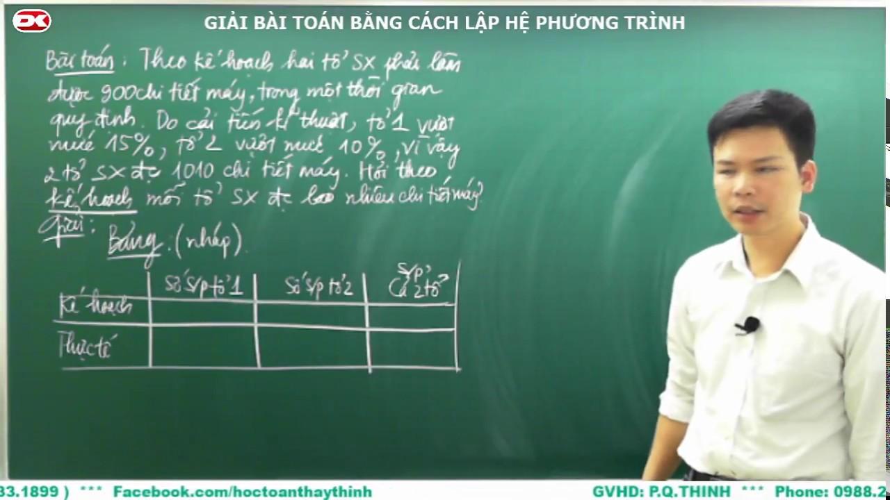 Toán 9 – Ôn thi vào lớp 10 – Giải bài toán bằng cách lập hệ phương trình.
