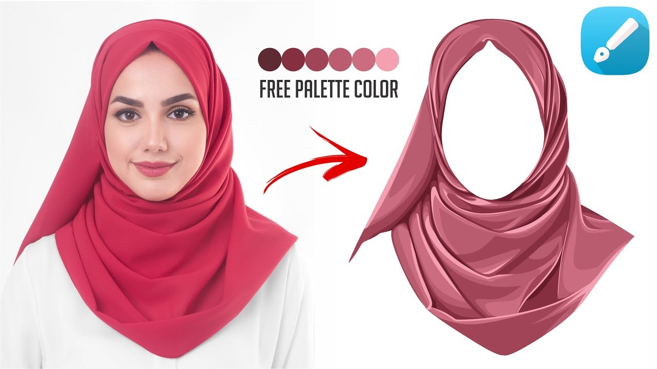How to make vector art - How to shading folds on the hijab