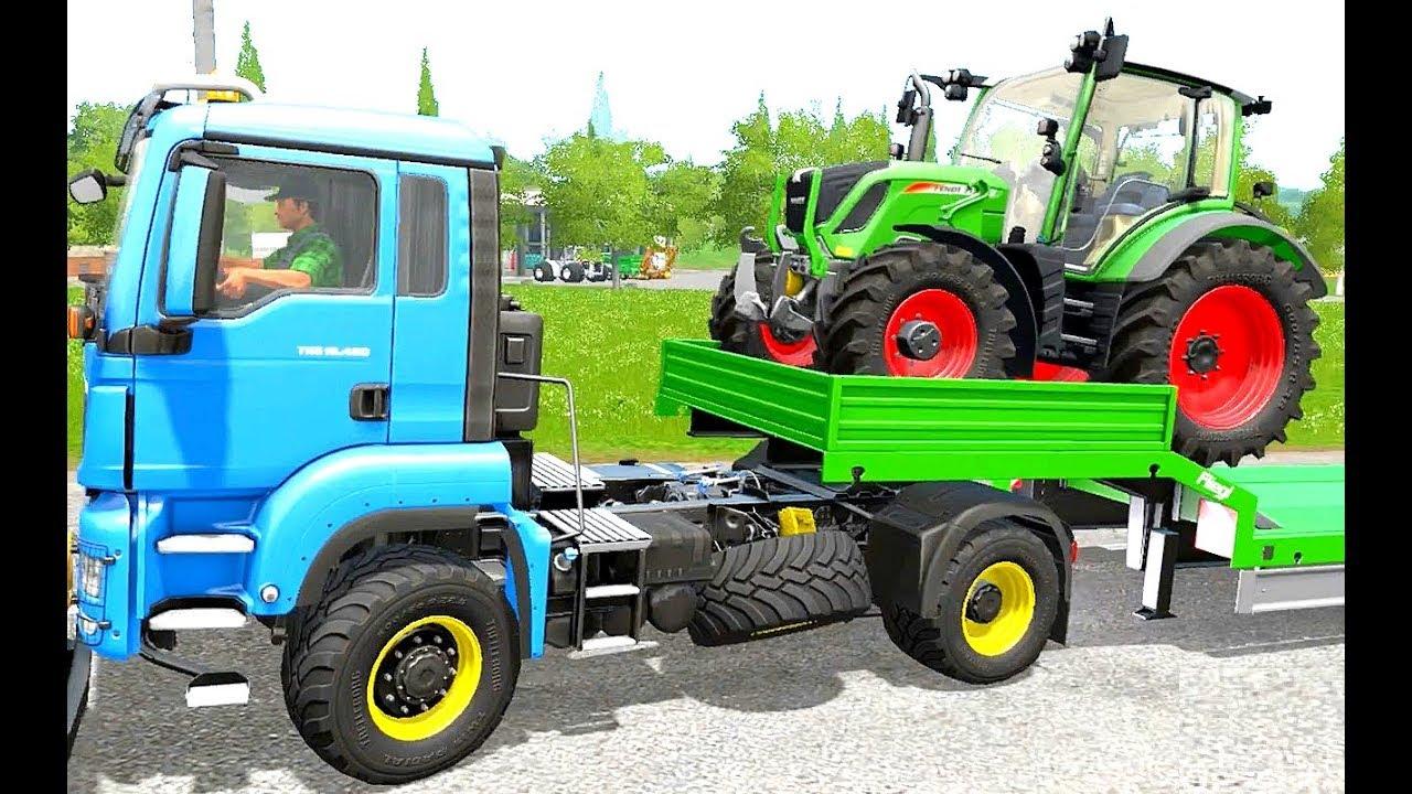 Blauer Lastwagen Zieht Den Trecker Trecker Abschleppen