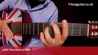 how to play the chord of am9 a major 9 love guitar page 105