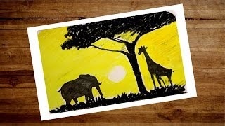 African Sunset Scenery Drawing With Oil Pastel   Landscape Drawing -  Drawing Nature and Animals