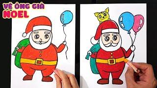 Dạy vẽ Ông già Noel đơn giản dễ hiểu ♥ How to draw Santa Claus ♥