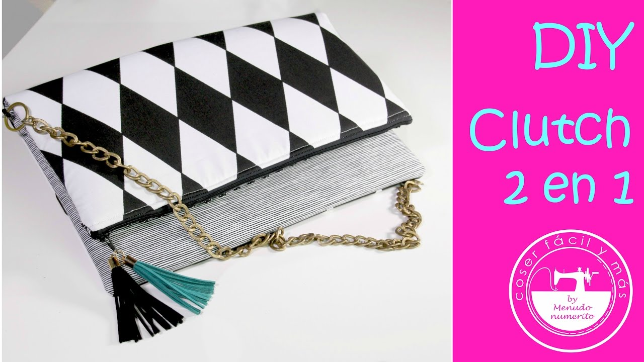 Costura: un bolso clutch reversible muy fácil - YouTube