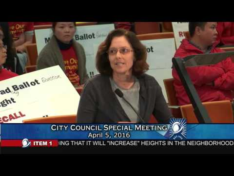 Resident Liana Crabtree presents at the Cupertino City Council special meeting on 04/05/2016