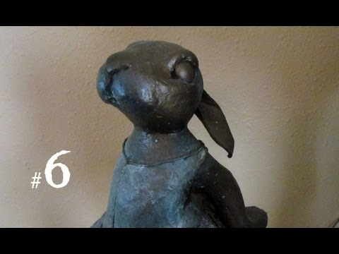 Paper Mache Bunny, with Faux Bronze Coating